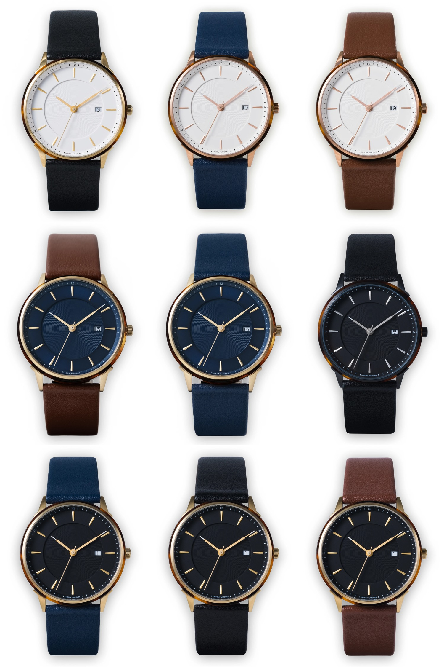 Lagom Watches(ラーゴムウォッチ)BORJA カラーバリエーション ブラック ネイビー ブラウン ストラップ