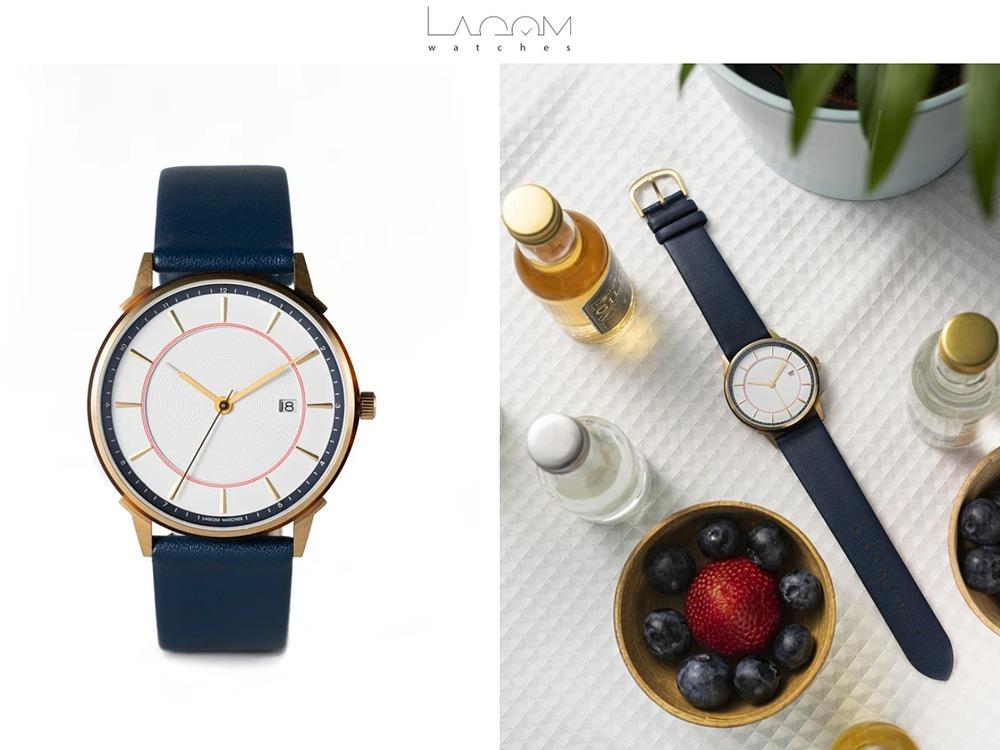 Lagom Watches ラーゴムウォッチ BORJA(LIMITED EDITION)2020年夏至限定版 LW060 ゴールドホワイト_レッドネイビー