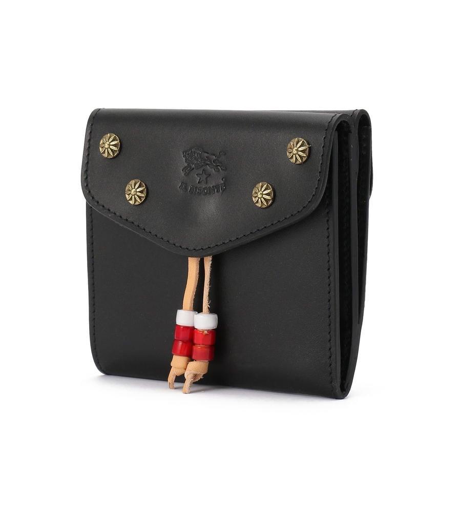 イルビゾンテ 2020年SSコレクション コインケース付き 真鍮スタッズ 二つ折り財布 ブラック