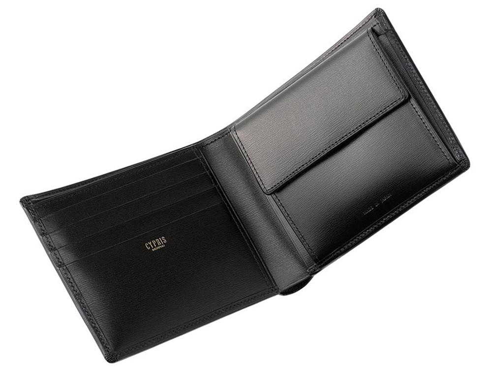 キプリス 二つ折り財布(小銭入れ付き札入)ボックスカーフ ~ポトフィール~ ブラック