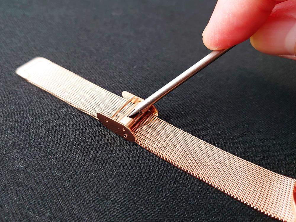 Nordgreen ノードグリーン Infinity インフィニティ ローズゴールド メッシュ(32mm)レビュー メッシュストラップ サイズ調整