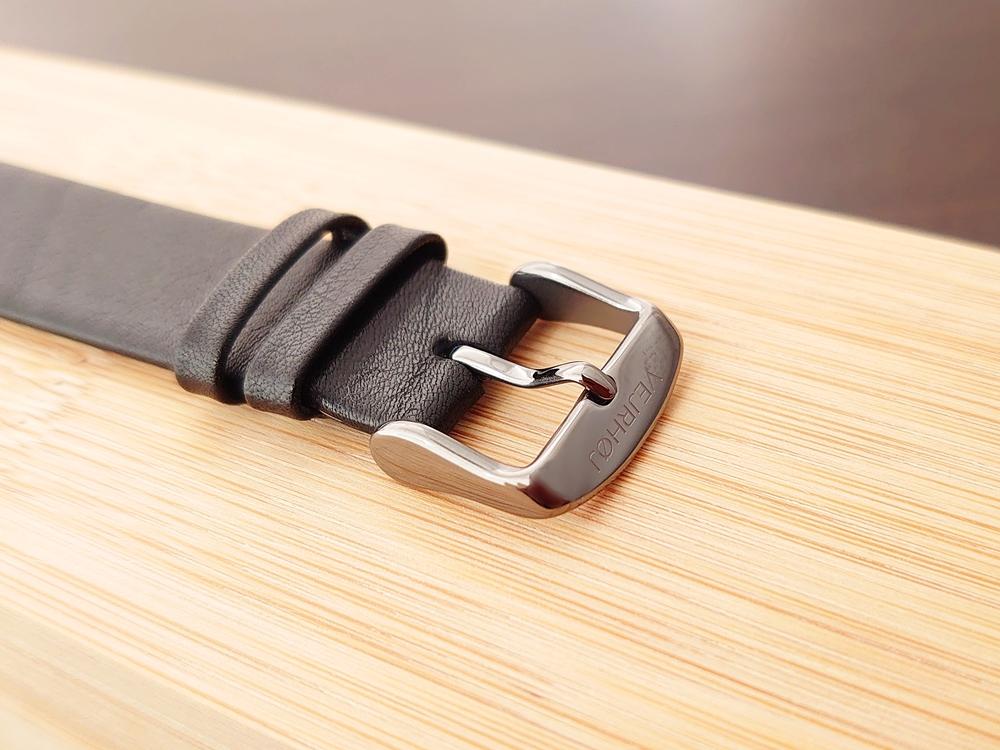 VEJRHOJ(ヴェアホイ) 本革 レザーストラップ ブラック バックル 美錠
