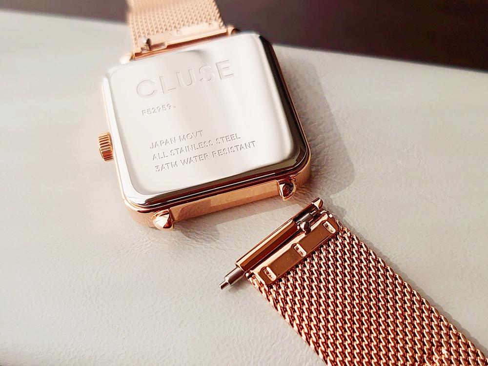 CLUSE クルース 腕時計 ラ・テトラゴン ローズゴールド ステンレスメッシュ ストラップ ベルト 取り外し
