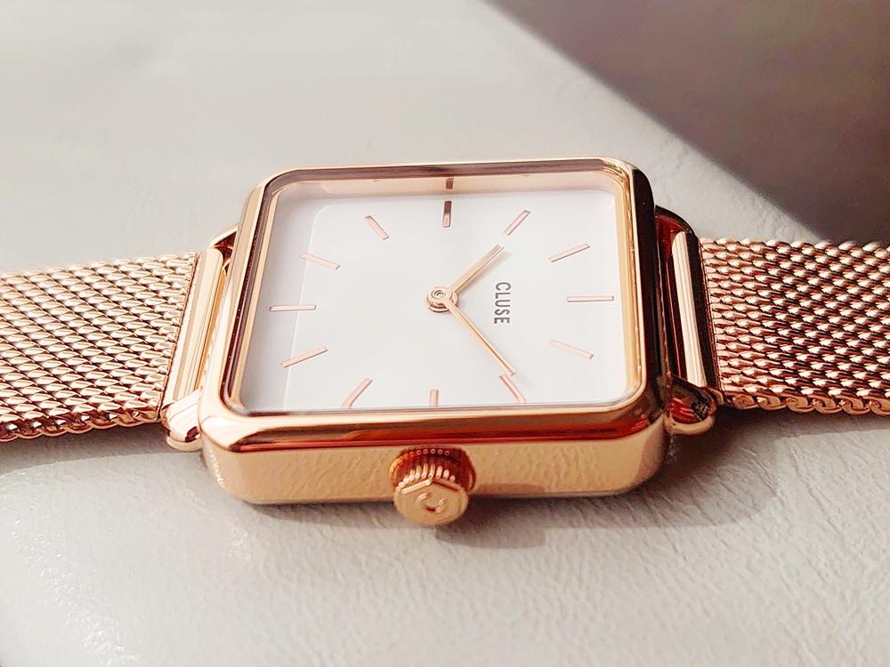 CLUSE クルース 腕時計 ラ・テトラゴン ローズゴールド ステンレスメッシュ ストラップ ベルト スクエアケース サイド