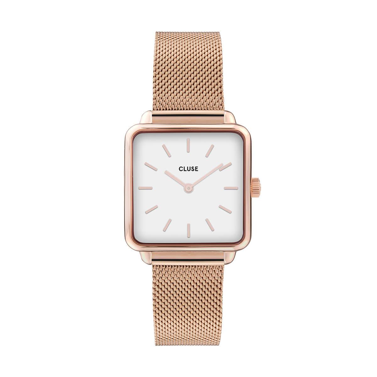 ラ・テトラゴン ローズゴールド メッシュ ホワイト 28.5mm CW0101207001 CLUSE クルース 腕時計