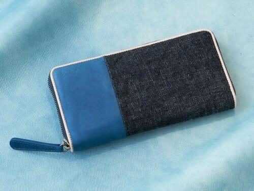 Sデニム x スクモレザー ラウンドジップ長財布 Bluestone(ブルーストーン) Mens Leather Store メンズレザーストア