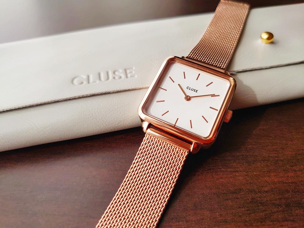 CLUSE クルース 腕時計 レビュー 「ラ・テトラゴン」ローズゴールドメッシュ