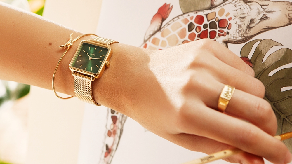 CLUSE クルース 腕時計 ラ・テトラゴン メッシュ ゴールド フォレスト グリーン ゴールド 口コミ評判
