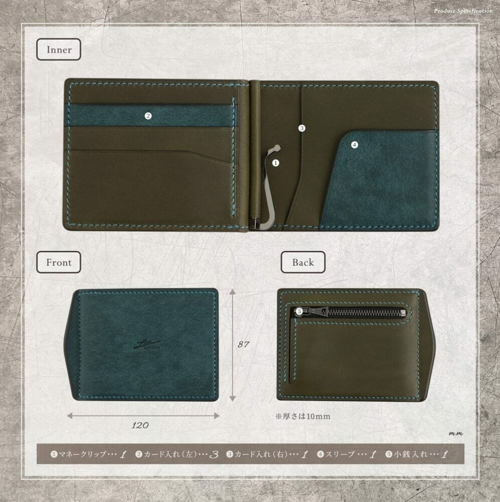 LUTECE プエブロ&リスシオ マネークリップ(小銭入れ付)寸法 Mens Leather Store メンズレザーストア