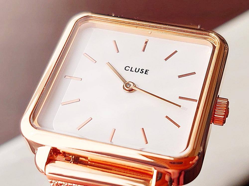 CLUSE クルース 腕時計 ラ・テトラゴン ローズゴールド ステンレスメッシュ ストラップ ベルト 文字盤 ホワイトダイヤル