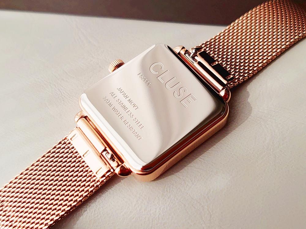 CLUSE クルース 腕時計 ラ・テトラゴン ローズゴールド ステンレスメッシュ ストラップ ベルト バックケース 刻印