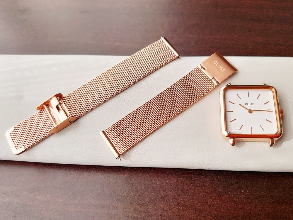 CLUSE クルース 腕時計 ラ・テトラゴン ローズゴールド ステンレスメッシュ ストラップ ベルト 取り外し 時計本体