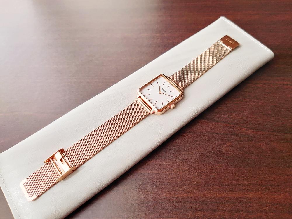 CLUSE クルース 腕時計 ラ・テトラゴン ローズゴールド ステンレスメッシュ ストラップ ベルト 開封