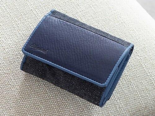 Sデニム x スクモレザー コンパクトウォレット Bluestone(ブルーストーン) Mens Leather Store メンズレザーストア