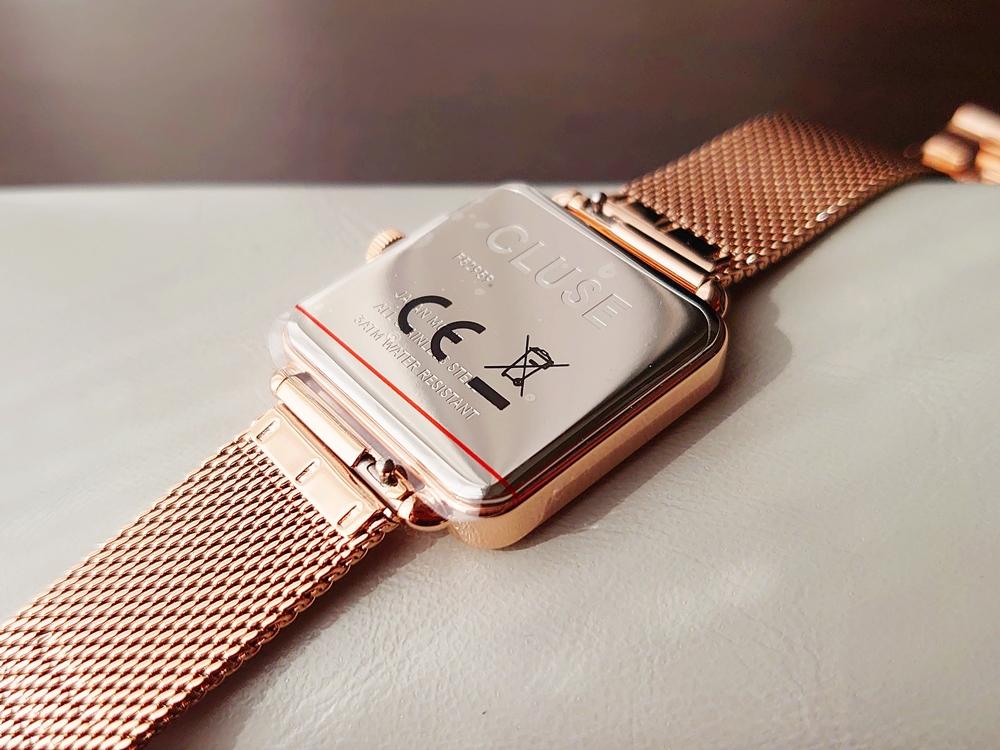 CLUSE クルース 腕時計 ラ・テトラゴン ローズゴールド ステンレスメッシュ ストラップ ベルト バックケース 保護シール