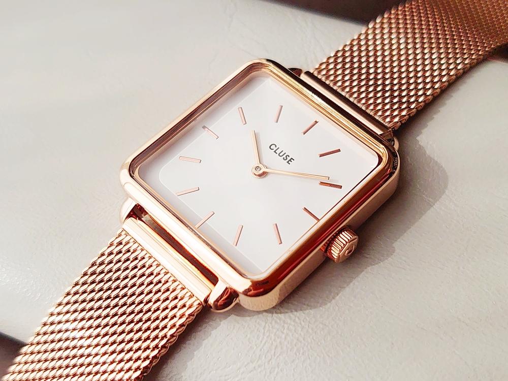 CLUSE クルース 腕時計 ラ・テトラゴン ローズゴールド ステンレスメッシュ ストラップ ベルト 文字盤