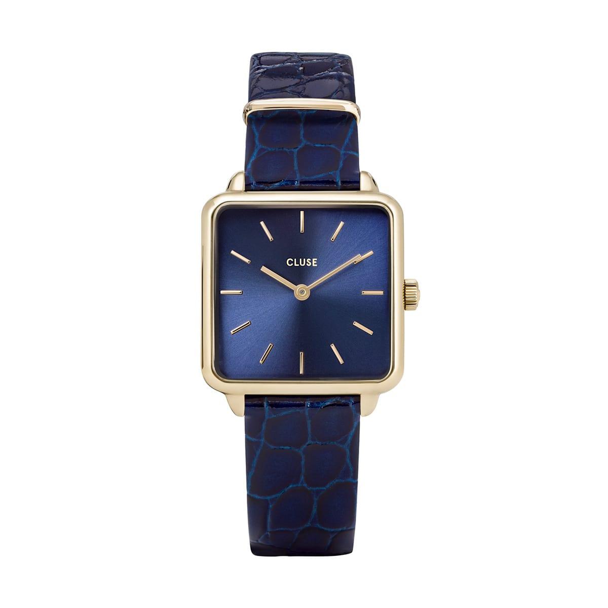 堀田茜 着用28.5mm - CW0101207028 ラ・テトラゴン レザー ゴールド ブルー ブルー アリゲーター CLUSE クルース 腕時計