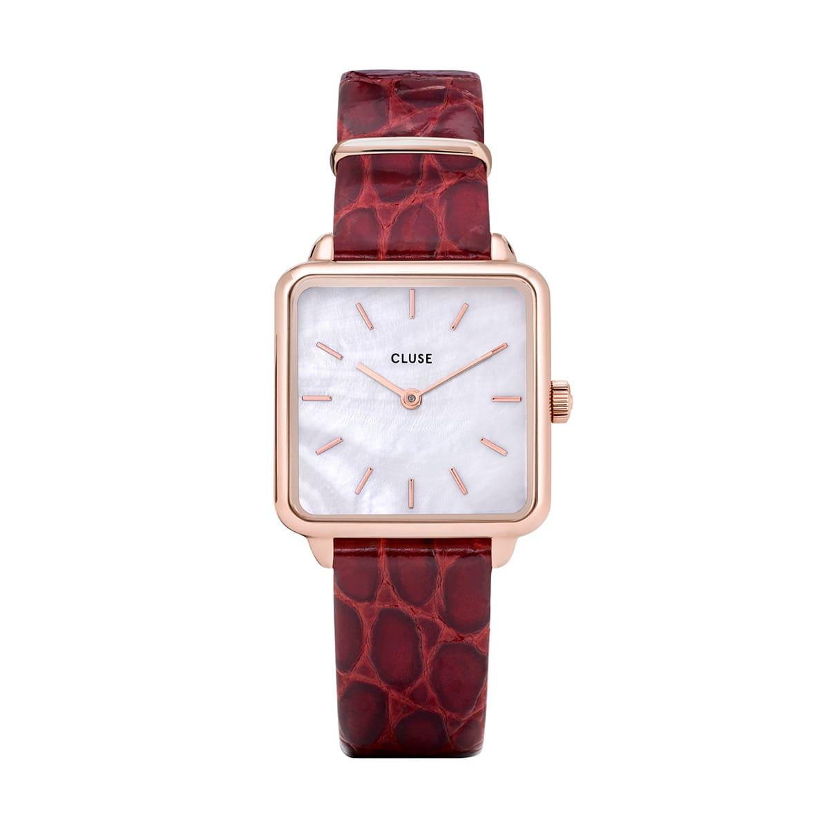 堀田茜 着用28.5mm - CW0101207029 ラ・テトラゴン レザー ローズゴールド ホワイトパール ダークレッド アリゲーター CLUSE クルース 腕時計