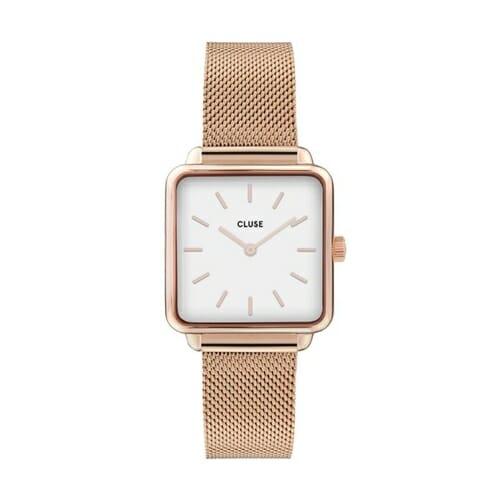 ラ・テトラゴン ローズゴールド メッシュ ホワイト 28.5mm - CW0101207001 CLUSE クルース レディース腕時計