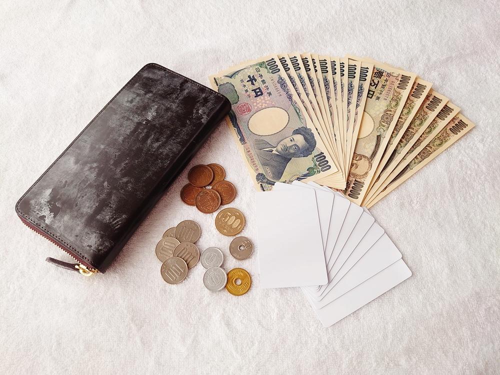 crafsto(クラフスト)ブライドルレザー「ラウンドファスナー長財布」ダークブラウン お金とカードを入れて確認
