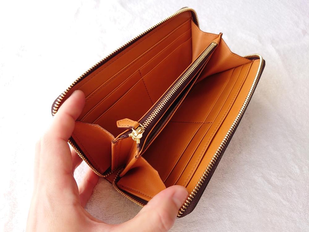 crafsto(クラフスト)ブライドルレザー「ラウンドファスナー長財布」ダークブラウン 内装 バケッタレザー「ブルガロ」