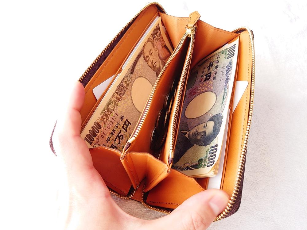crafsto(クラフスト)ブライドルレザー「ラウンドファスナー長財布」ダークブラウン 一万円札と千円札を両サイドに分けて収納(小銭入れオープン)