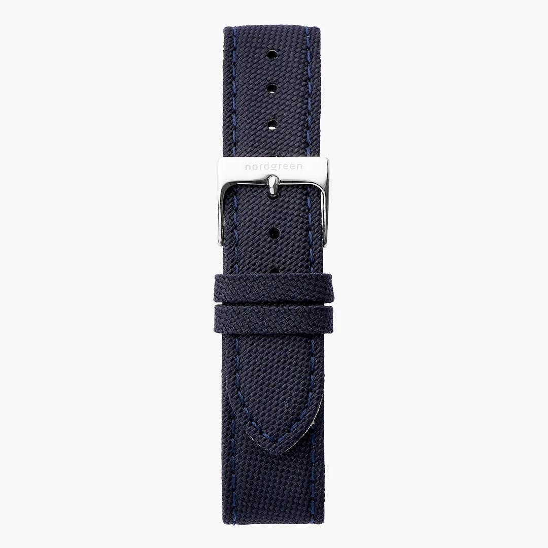 Nordgreen x Koyuki 藍色ストラップ - シルバー - 36mm ノードグリーン リサイクルポリエステルストラップ