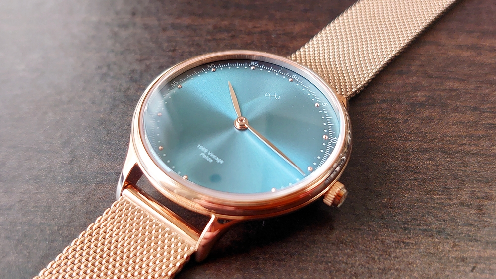 About Vintage(アバウトヴィンテージ)1969 PETITE ROSE GOLD BLUE SUNRAY ローズゴールメッシュ デザイン ケース