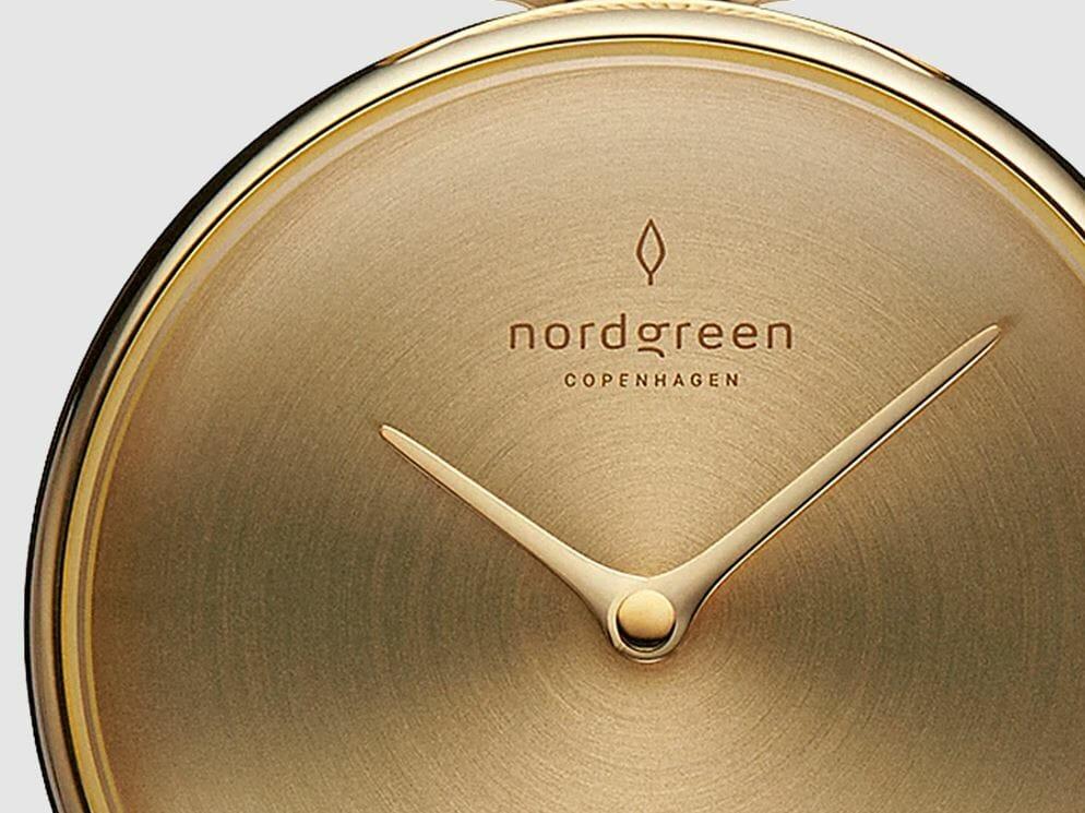 ゴールド マットメタル ヘアライン加工 Unika(ユニカ)ダイヤルカラー Nordgreen(ノードグリーン)