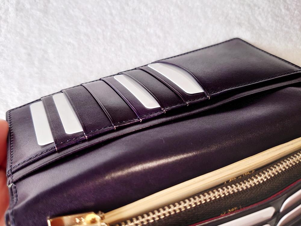 Orobianco(オロビアンコ)ファスナー付き長財布(品番:ORS-012608)ブラック お札とカードを入れた状態(かぶせ部分のカードカードポケット)