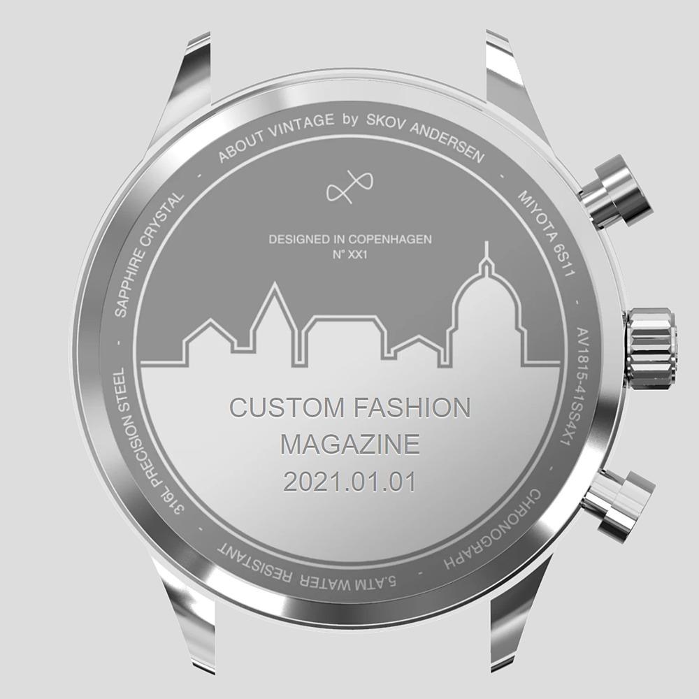 About Vintage(アバウトヴィンテージ)無料文字入れサービス 1844 クロノグラフ CUSTOM FASHION MAGAZINE 2021.01.01 入力例3