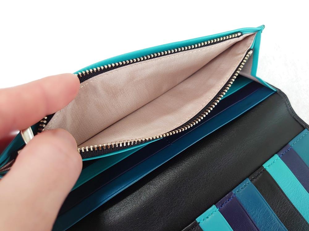 スリム長財布(カード収納13段)ブラック レビュー ファスナー付き小銭入れ YKK製 開いた状態JOGGO(ジョッゴ)