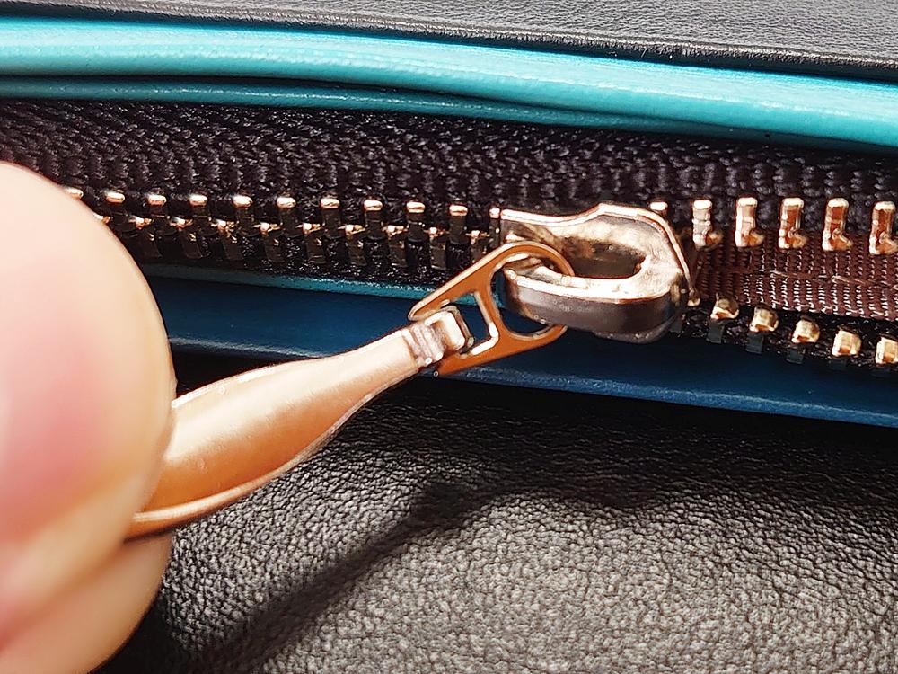 スリム長財布(カード収納13段)ブラック レビュー ファスナー付き小銭入れ YKK製ファスナー 接続リング部分 JOGGO(ジョッゴ)