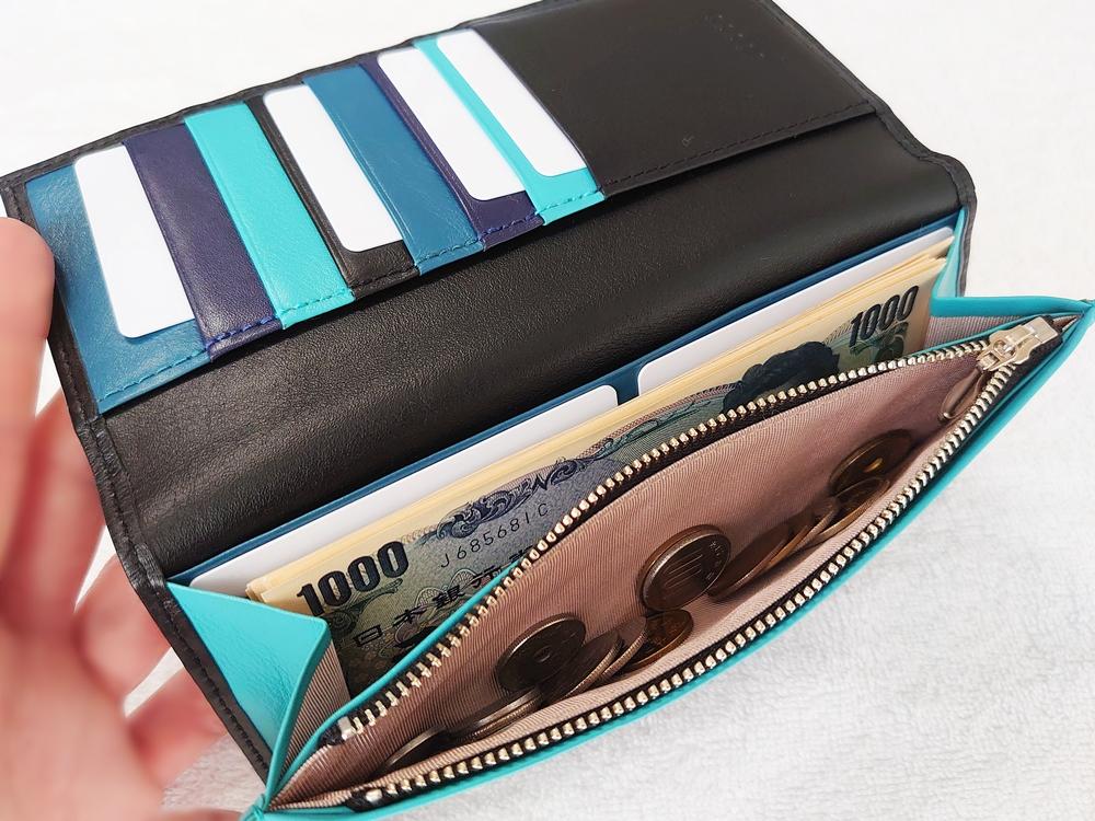 スリム長財布(カード収納13段)ブラック レビュー JOGGO(ジョッゴ)実際にお金とカードを入れた状態①
