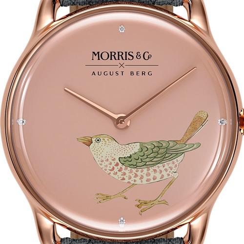 Morris & Co. Primrose ローズゴールド Strawberry Thief Bird グレ-ペルロン ダイアルデザイン August Berg(オーガストバーグ)