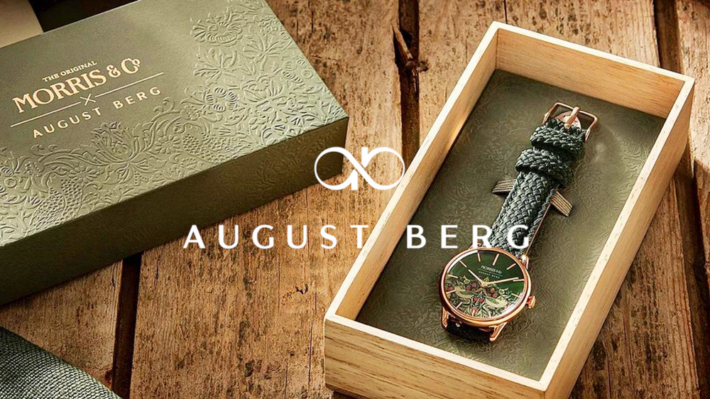 August Berg(オーガスト・バーグ)Morris & Co. Fennel ローズゴールド Strawberry Thief グリーンペルロン
