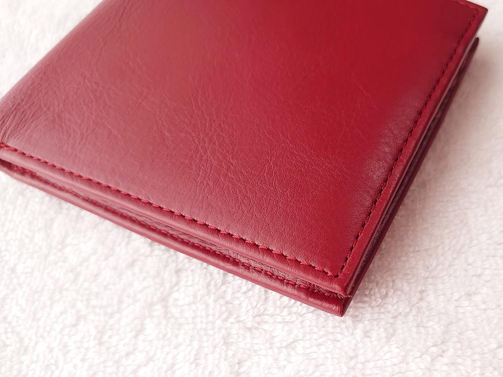 2つ折り財布(小銭入れ付き)ダークレッド レビュー JOGGO(ジョッゴ)ステッチ(縫い目)