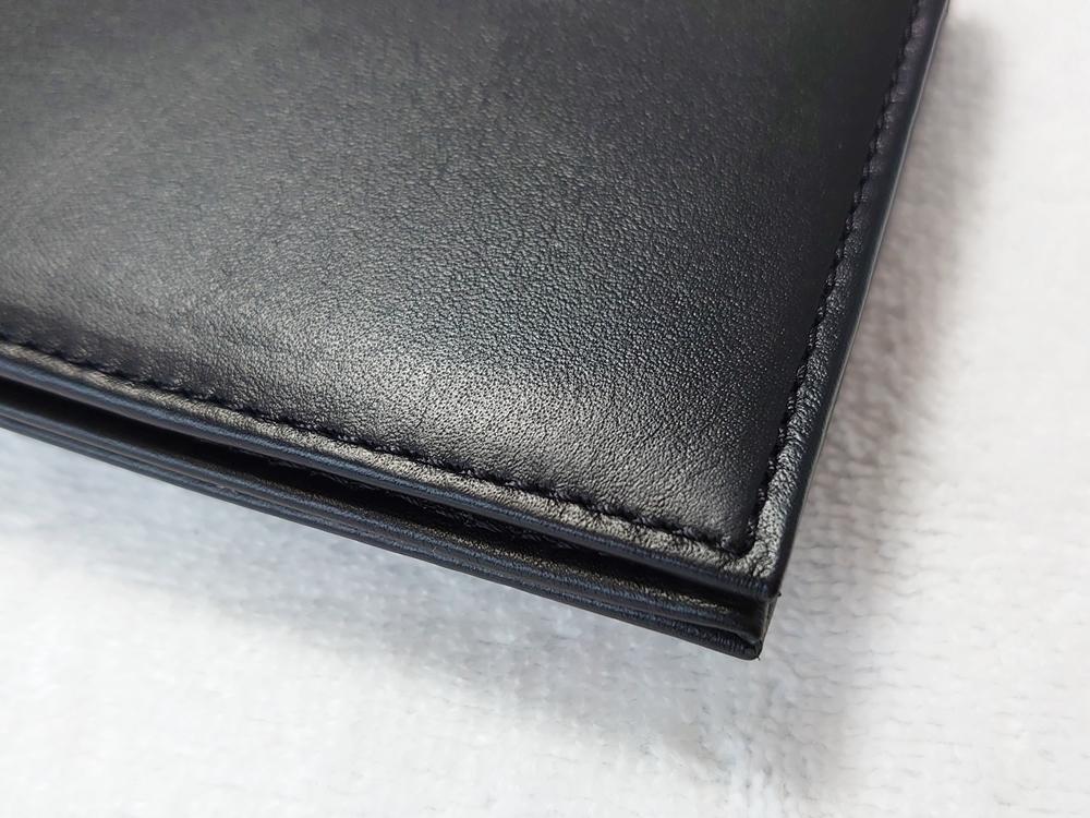 スリム長財布(カード収納13段)ブラック レビュー JOGGO(ジョッゴ)外側 財布の端 へり返し