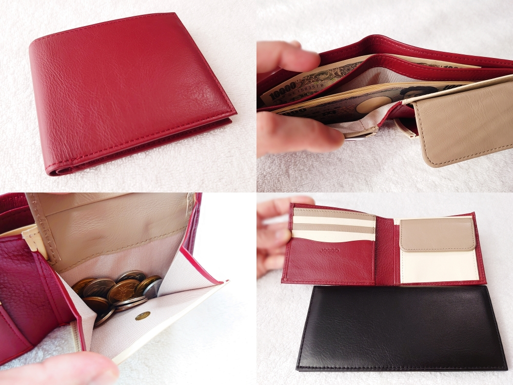 2つ折り財布(小銭入れ付き)ダークレッド レビュー JOGGO(ジョッゴ)本体 外側 レザー表面 2つの札入れ マチ付き小銭入れ 長財布と長さを比較