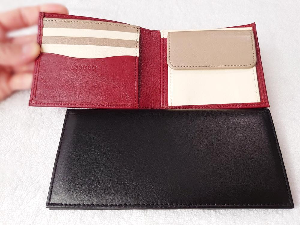 2つ折り財布(小銭入れ付き)ダークレッド スリム長財布(小銭入れ付き)ピュアブラック レビュー 大きさ比較 JOGGO(ジョッゴ)長さ