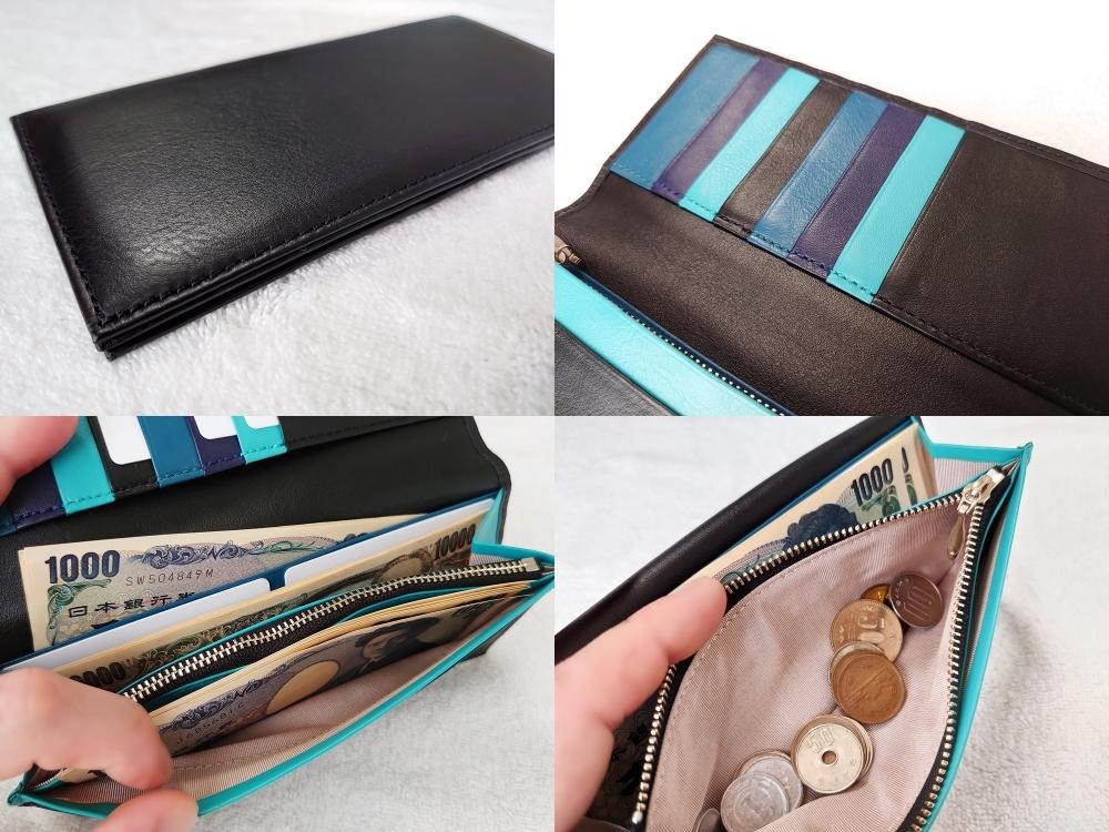 スリム長財布(カード収納13段)ブラック レビュー JOGGO(ジョッゴ)外側 カード入れ 小銭入れ フリーポケット