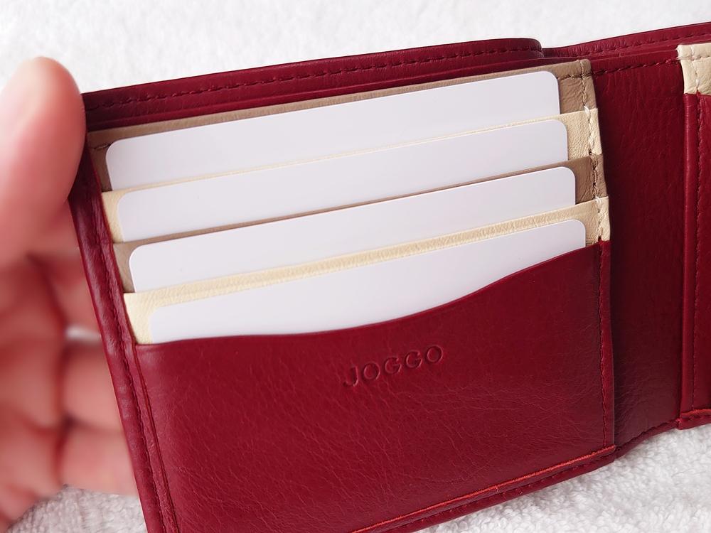 2つ折り財布(小銭入れ付き)ダークレッド レビュー JOGGO(ジョッゴ) カードポケット 使用例②
