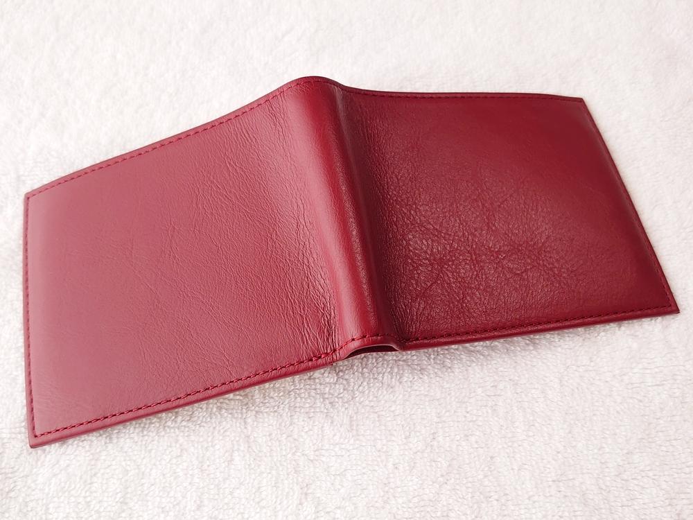 2つ折り財布(小銭入れ付き)ダークレッド レビュー JOGGO(ジョッゴ)財布を広げた状態 外側レザー