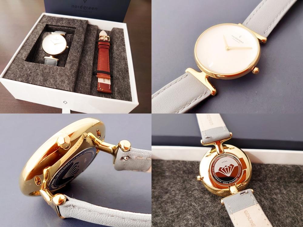 Nordgreen(ノードグリーン)Unika(ユニカ)ゴールドケース ホワイトダイヤル グレーレザー ブラウンレザー セット レビュー カスタムファッションマガジン