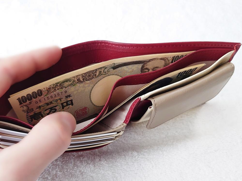 2つ折り財布(小銭入れ付き)ダークレッド レビュー JOGGO(ジョッゴ) 2つ折り財布に実際にお金とカードを入れる 札入れ 奥側