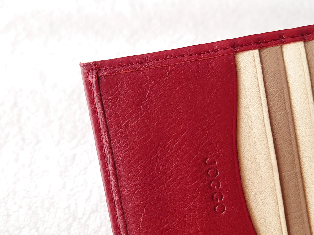 2つ折り財布(小銭入れ付き)ダークレッド レビュー JOGGO(ジョッゴ)ステッチ(縫い目)へり返し 左側