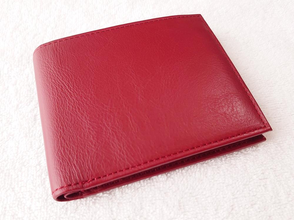 2つ折り財布(小銭入れ付き)ダークレッド レビュー JOGGO(ジョッゴ)本体 外側 レザー表面