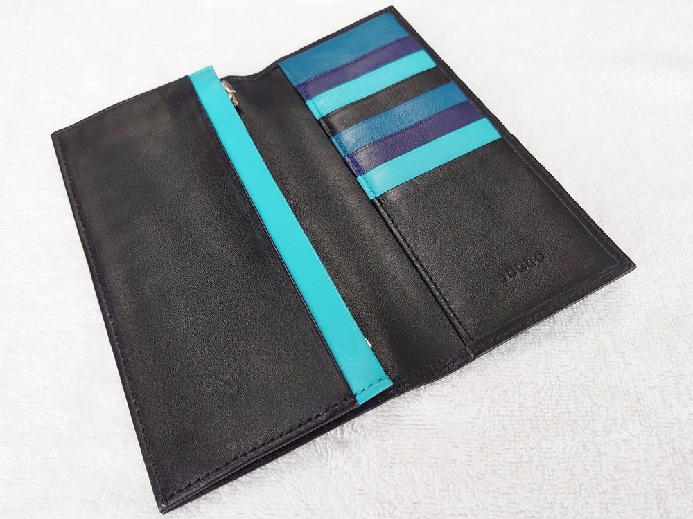 スリム長財布(カード収納13段)ブラック レビュー JOGGO(ジョッゴ)内側 ポケットカラー