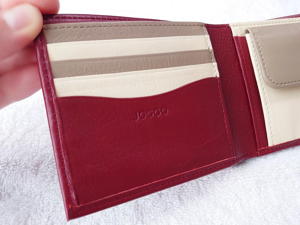 2つ折り財布(小銭入れ付き)ダークレッド レビュー JOGGO(ジョッゴ)カードポケット