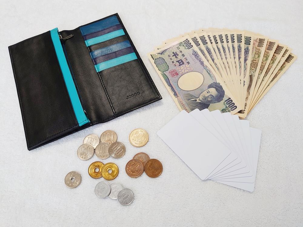 スリム長財布(カード収納13段)ブラック レビュー 実際にお金とカードを入れる 紙幣15枚 カード8枚ア 硬貨15枚 JOGGO(ジョッゴ)